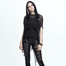 The spring and summer 2017 new Steampunk Goth Hoodie sweater coat color in bat net female perspective