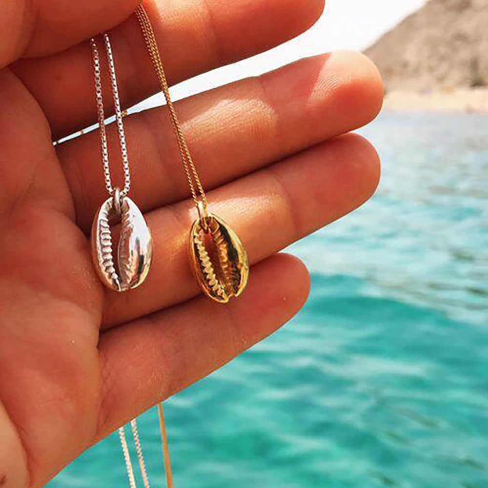 Vintage Fashion Gold Silver Color Conch Shell Necklace For Women Shape Pendant Simple Seashell Ocean  Beach Boho Necklace Jewelr