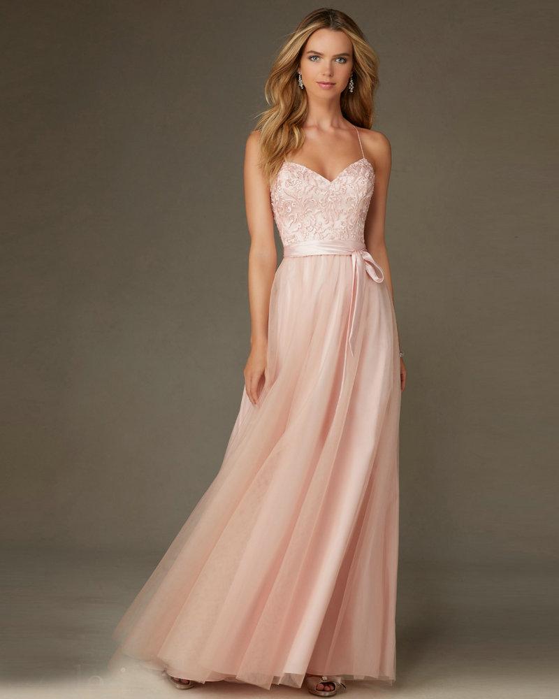 Style 132 Peach Color Bridesmaid Dress Tulle Lace robe de