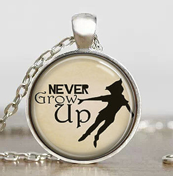 Steampunk Us Movie Never Grow Up Peter Pan Quote Pendant Necklace