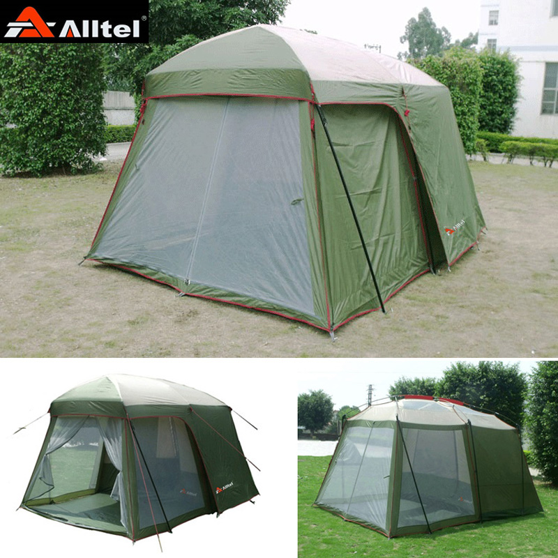 Ultralarge high quality one hall one bedroom 5-8 person double layer 200cm height waterproof camping tent in big promotion price outdoor double layer 10 14 persons camping holiday arbor tent sun canopy canopy tent