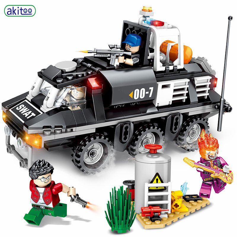 Akitoo Black Eagle Special Forces Gewapende Anti-chemische Pantserwagen Kleine Deeltjes Bouwstenen Puzzel Gemonteerd Speelgoed #1214