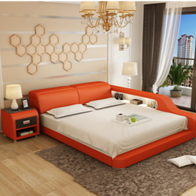 Turkey City High Quality Space Saving Furniture Leather Bed In