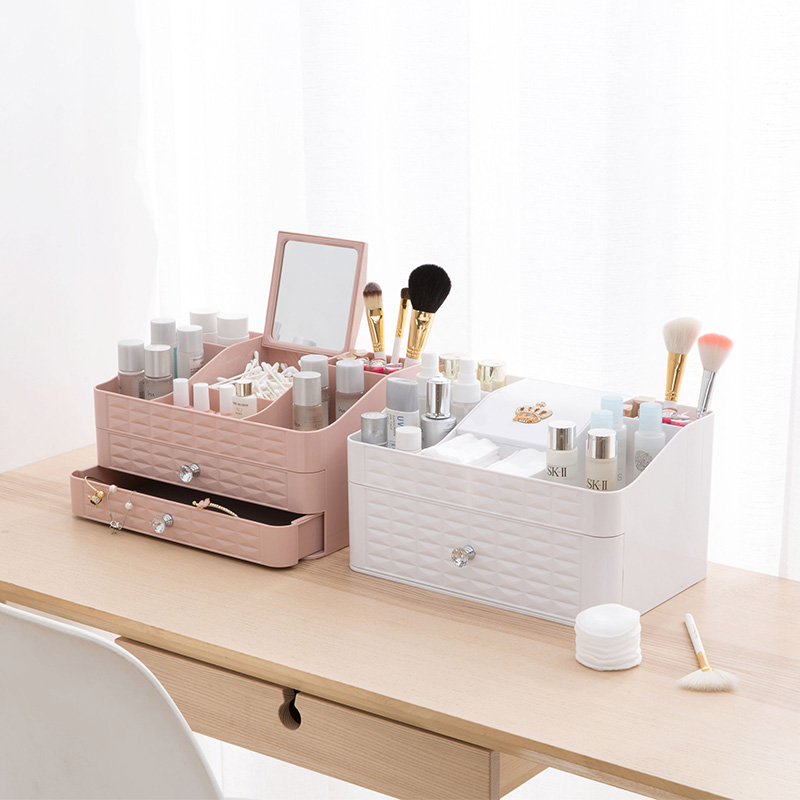 High Quality Makeup Storage Box Exquisite Cosmetics Beauty Organizer Container Box Small Drawer Desk Case Whit Jewelry Cosmetics