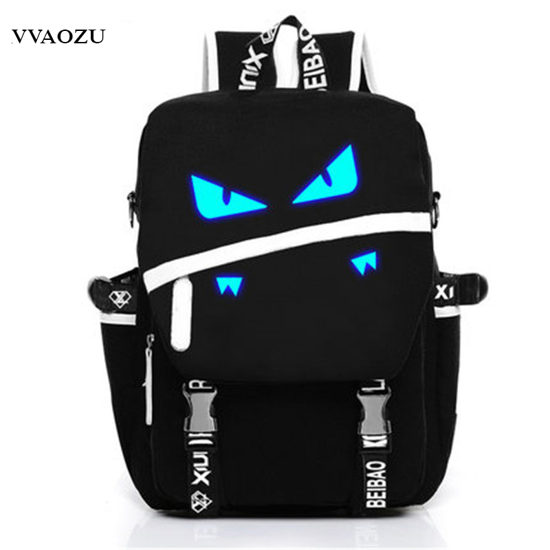 Luxury Women Men Backpack High Quality Anime Pocket Monster Canvas Bags Pokemon Monster Fluorescent Eyes Shoulders Bag Satchel pokemon pikachu haunter eevee bulbasaur canvas backpack students shoulders bag pocket monster haunter schoolbags laptop bags