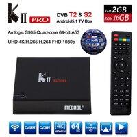 Mecool K2 프로 DVB T2 스마트 TV 상자 2 그램 ROM 16 그램 DVB T2/S2 안드로이드 5.1 H.265 MPEG4 HD 1080 마력 Clin 4 천개 TV 수신기 Kii 프로 미디어 플레이어