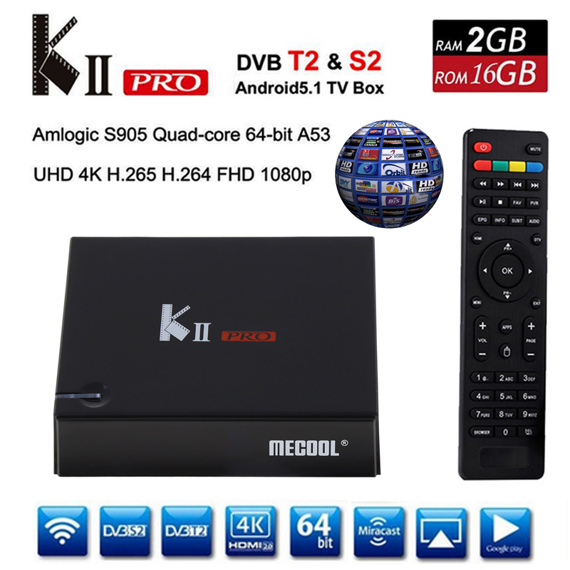 Mecool K2 Pro DVB T2 Smart TV Box 2G ROM 16G DVB T2/S2 Android 5.1 H.265 MPEG4 HD 1080P Clin 4K TV Receiver Kii pro Media Player android box iptv stalker middleware ipremuim i9pro stc digital connector support dvb s2 dvb t2 cable isdb t iptv android tv box