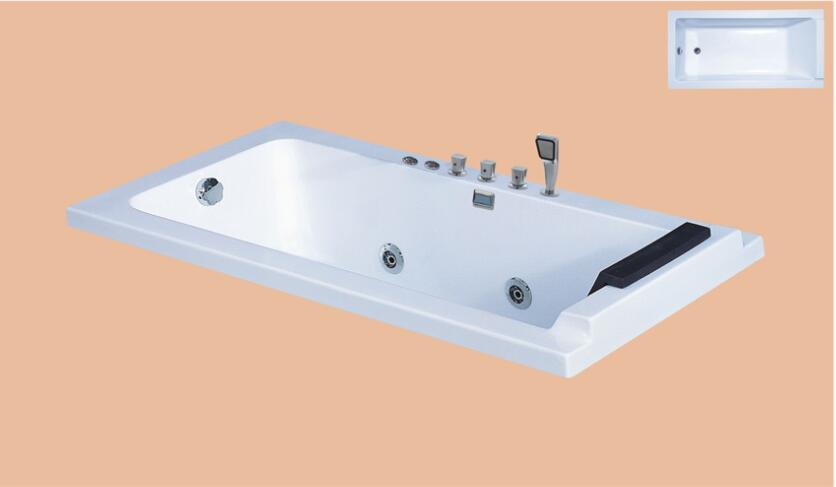1500mm Fiberglass Drop in Whirlpool embedded Bathtub Acrylic Hydromassage Mixer Tub NS6032