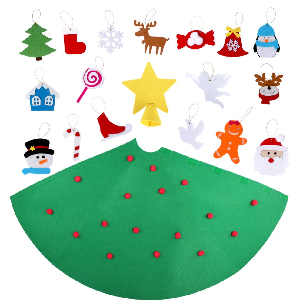 OurWarm DIY Felt Christmas Tree Xmas Tree Ornaments Felt Craft Toddler Cone Christmas Tree for Home Kids Toy New Year 2019 in Trees from Home Garden