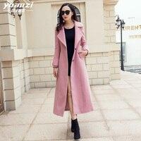 Women Winter Coat Ladies Coats Wool Blend Coat Female Suit collar Singlr breasted Slim Pink Wool Coat Outerwear manteau femme