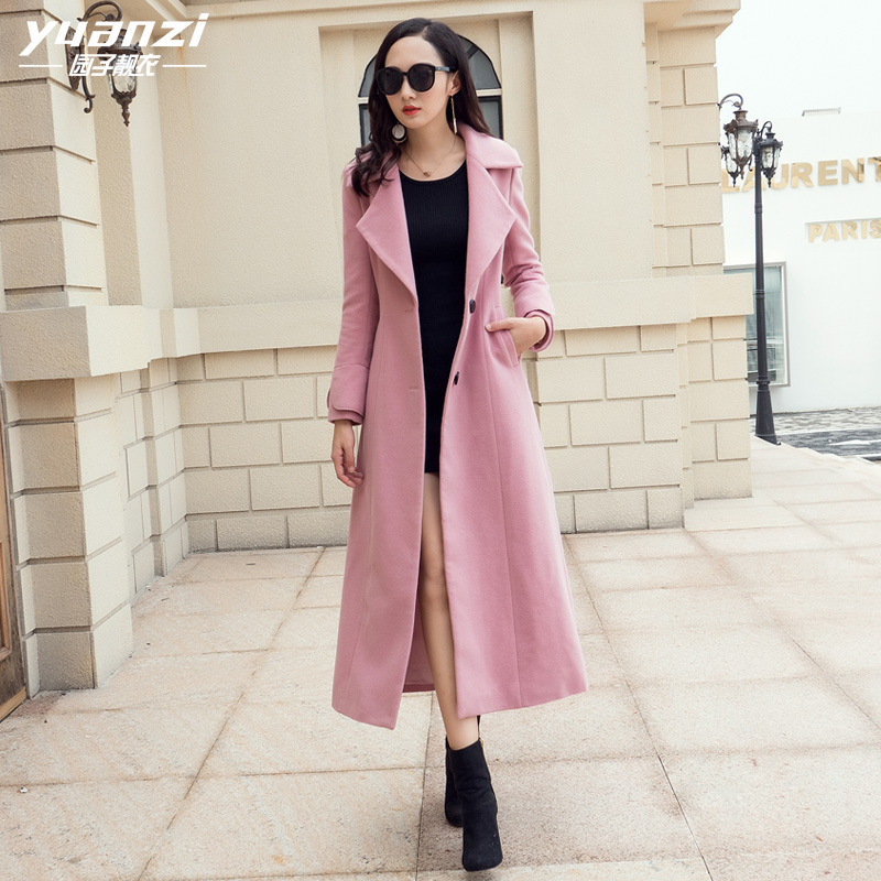 Women Winter Coat Ladies Coats Wool Blend Coat Female Suit collar Singlr-breasted Slim Pink Wool Coat Outerwear manteau femme