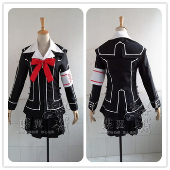 High Quality Anime Vampire Knight Cos Kuran Yuki/Kurosu Yuki Cosplay Costume JK Black Uniform Coat+shirt+skirt+tie+armband+socks фото
