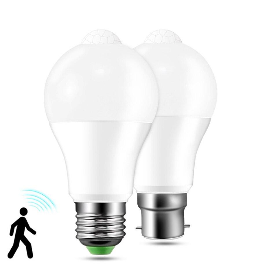 E27 PIR מנורת הנורה 12 w 18 w LED הנורה PIR תנועת חיישן B22 AC85-265V LED לילה אור למסדרון מעבר מדרגות מרפסת Lampada