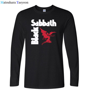 Fashion Black Sabbath T Shirt Men Heavy Metal Rock Band T Shirt Long Sleeve Cotton Men's Clothing Tees Top T157