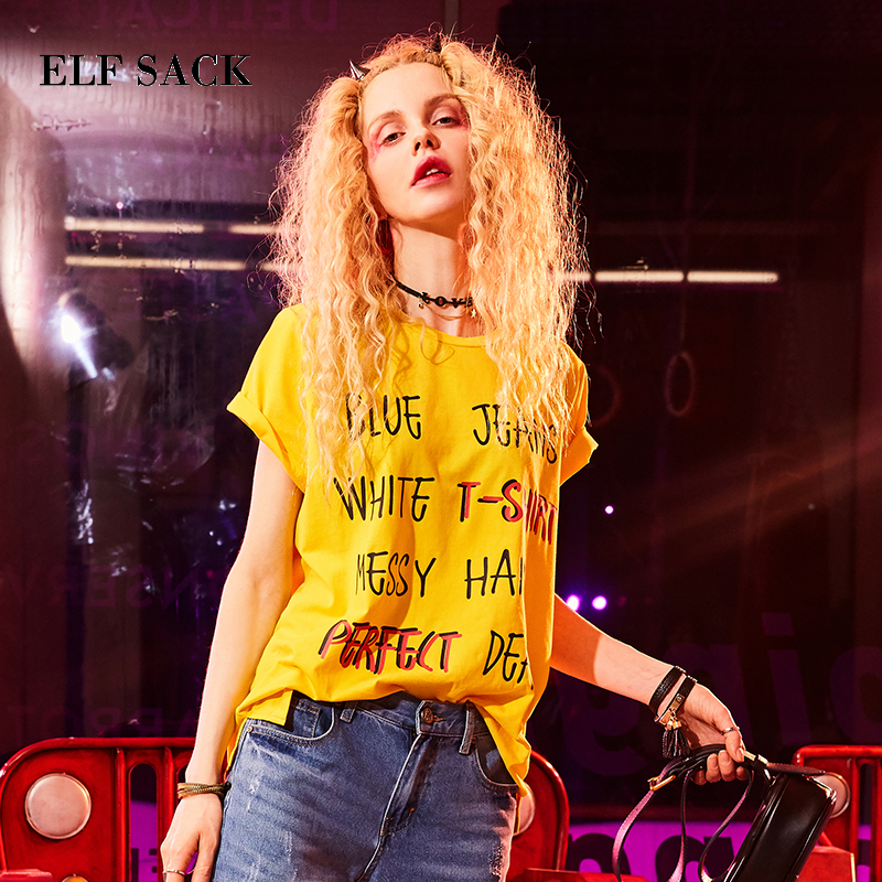 ELF SACK Loose Letter T Shirts Women Casual Harajuku Summer Tops Hand Painted O Neck Top Female T-Shrts Printing Korean Tops