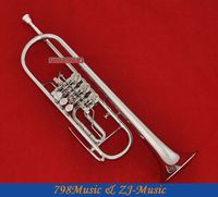 High Grade Silver Nickel Plated Rotary Piston Trumpet B flat New horn With Case