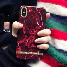 hot deal buy retro marble phone case for iphone 7 plus case for iphone x xr xs max 6 6s 7 8 plus wine red back cover glossy soft cases