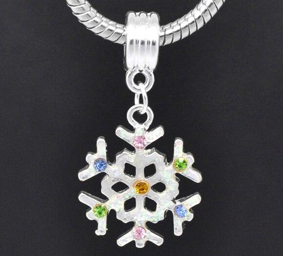 1496939824a3 Doreenbeads color plata rhinestone multicolor Navidad del copo Colgantes  encanto europeo 36x19mm