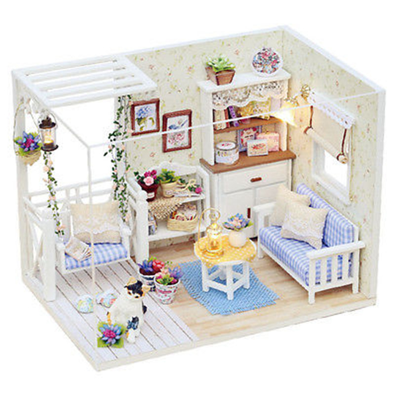 New Doll House Furniture Kits DIY Wood Dollhouse miniature with LED+Furniture+cover Doll house room HB