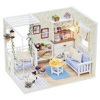 New Doll House Furniture Kits DIY Wood Dollhouse Miniature With LED Furniture Cover Doll House Room