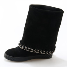 2018 Ankle Boots for Women mid-calf 8CM high increasing hidden cowboy Boots black chain botas feminina winter wedges shoes woman new fashion autumn winter mid calf boots for women height increasing wedges shoes beige black boots white pearls beaded boots