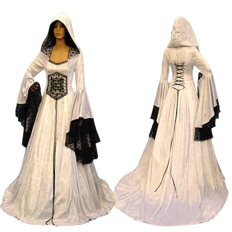 Adult Women Medieval Celtic Wedding Maxi Gown Robe Dress Vintage