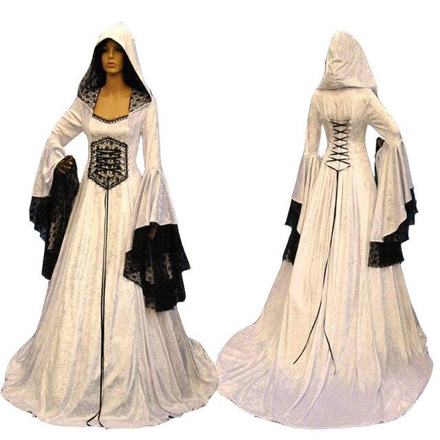 Adult Women Medieval Celtic Wedding Maxi Gown Robe Dress Vintage