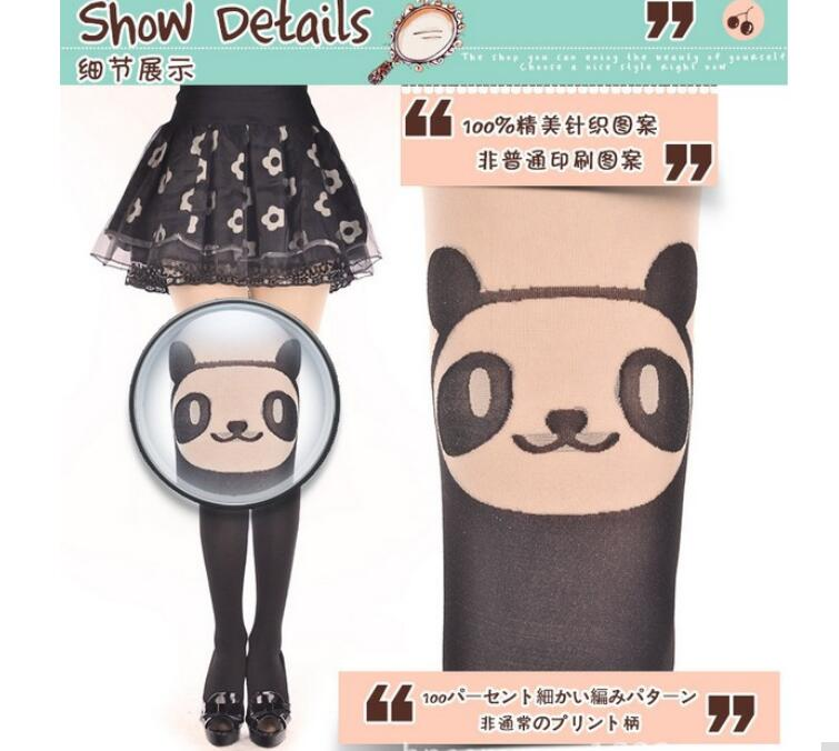 1 piece 2018 new cute woman Solid panda mock Character tights women print patterned Animal cute nylon tatoo pantyhose