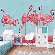 Watercolor flamingo wedding room living wall professional making mural wallpaper wholesale custom poster photo
