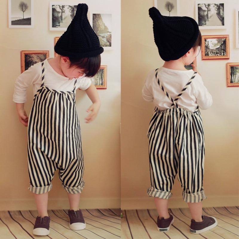 Kids Baby Girls Summer Clothes Camisole Striped Strap Bib Pants Harem Pants Romper Outfits girls slant pocket detail striped pants with belt