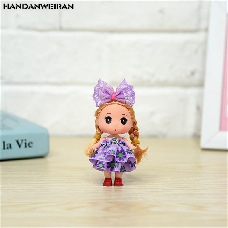 1PCS Cute Floral Skirt Confused Doll Fshion Girl Small Pendant Activity Birthday Girls Favorite Gift Dolls For Kids 2020 Hot 9CM