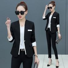 3d3dc56f69 Plus rozmiar S-6XL wiosna lato kobiety Blazers Slim kurtka urząd Lady  koreański moda garnitur wiosna jesień odzież czarny różowy.