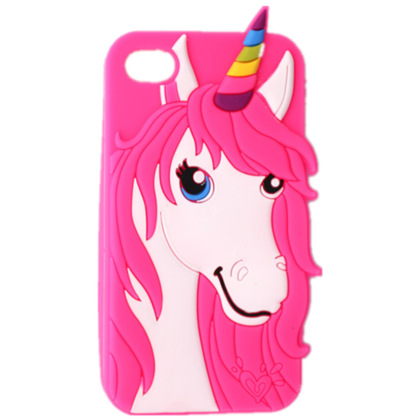 Soft Silicone Case Apple iPhone 4 4S 3D Cartoon Rose Red Unicorn Shape Phone Protective Back Cover - Angel store
