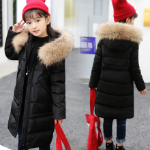 где купить -30 Dgree Girls Winter Down Jacket Long Thicken Boy Winter Coat Duck Down Kids Outerwear Overcoat Parkas Natural Fur Collar6-14Y дешево