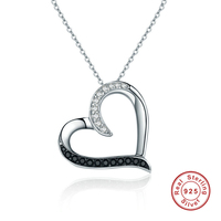 Fashion 925 Sterling Silver Classic Heart Hollow Clear CZ Pendant Necklaces Women Jewelry