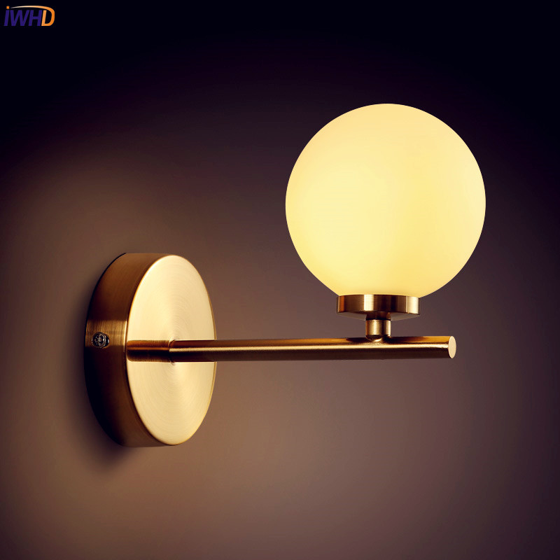 IWHD Nordic Copper LED Wall Light Bedroom Living Room Glass Ball Beside Wall Lamp Sconce Wandlampen Luminaire Stair LightsIWHD Nordic Copper LED Wall Light Bedroom Living Room Glass Ball Beside Wall Lamp Sconce Wandlampen Luminaire Stair Lights