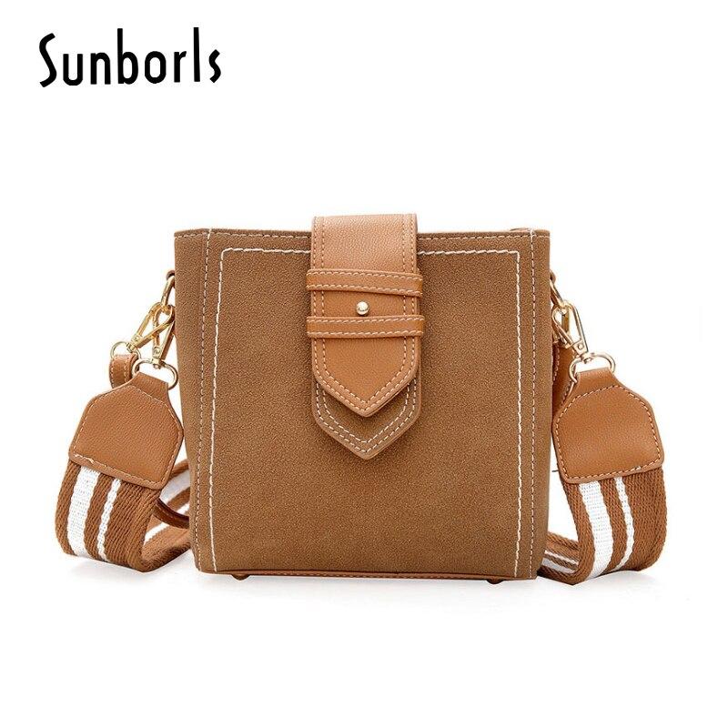 Women Handbag Faux Suede Crossbody Women Bag Wide Strap Womens Bags Over Their Shoulders Bags Handbags Messenger 12v445