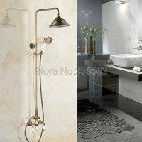 Antique Brass Bathroom Round Spray Rain Rainfall w/ Hand held Shower Head Unit Mixer Tap lan116