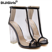 New Women Pump High Quality Transparent Crystal Jelly High Heel Boots PVC Sandals Gladiator Fetish Shoes