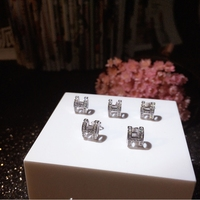Fashion Trendy Korean Style 925 Sterling Silver Jewelry letter H White Cubic Zirconia Paved Flower Stud Earrings For Women Hot