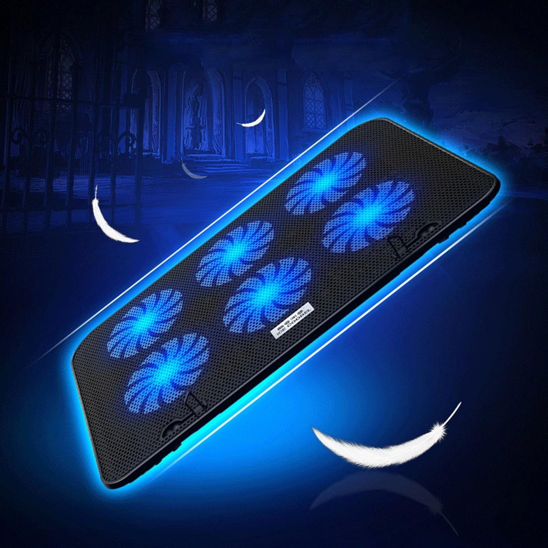 NOYOKERE ordinateur portable tapis de refroidissement LED refroidisseur d'ordinateur portable 14-15.6 pouces 6 ventilateur de refroidissement support plaque muet refroidisseur pour processeur - 5
