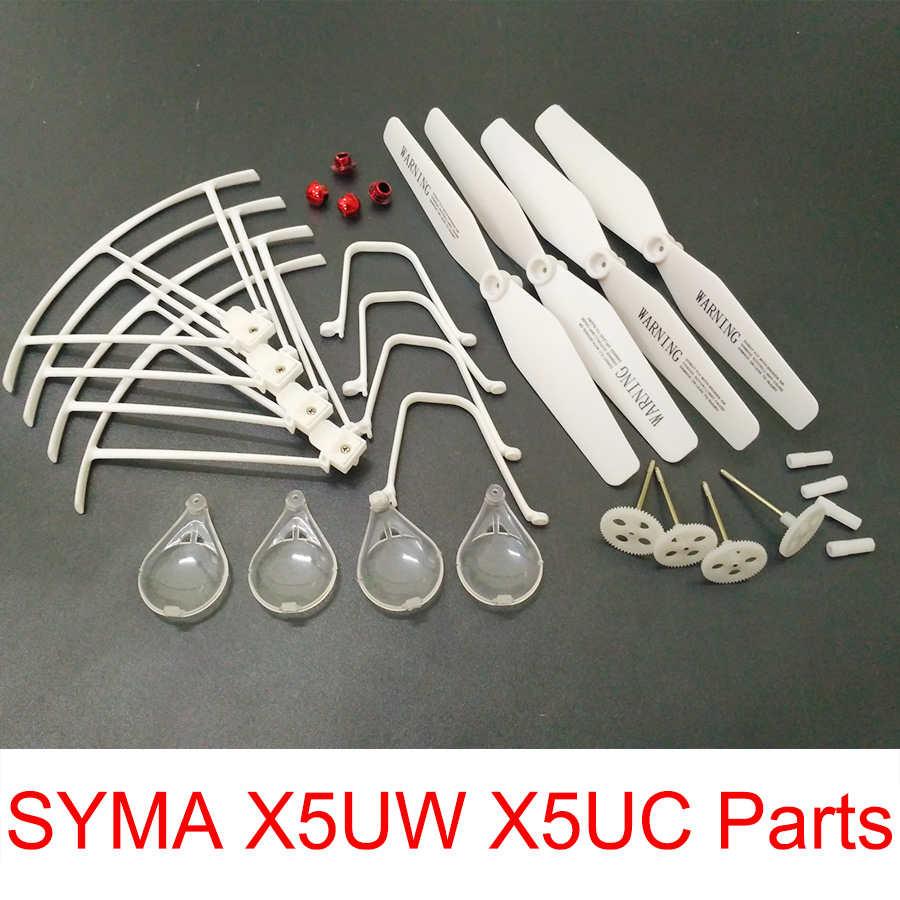 SYMA X5UW X5UC RC Drone Spare Parts Main Blades + Propellers + Landing gear + Protective Ring + Gear Set + Cover syma x5uc x5uw rc drone spare parts engines gear propeller landing gear skid protectors ring lampshade accessories