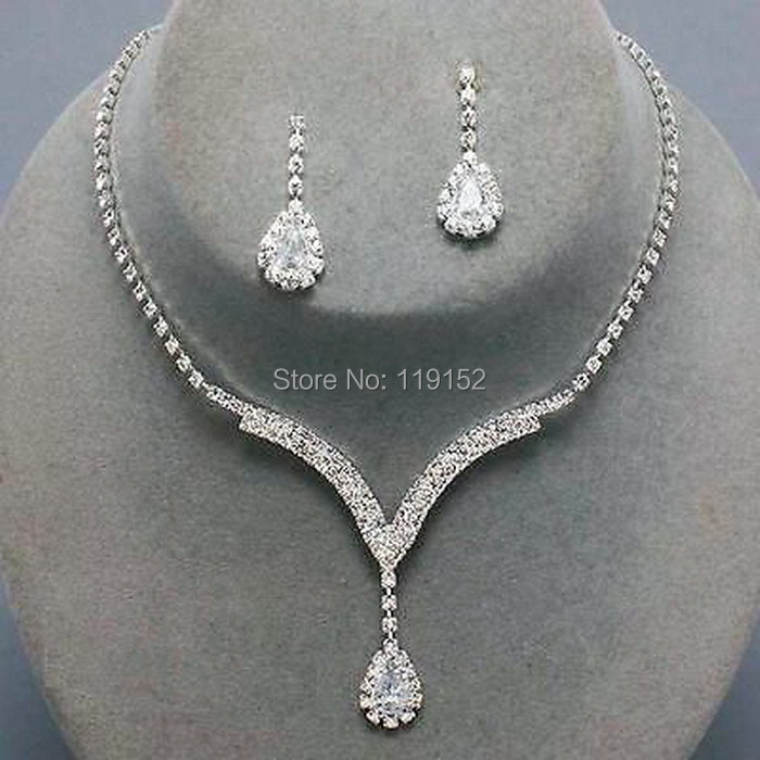 Crystal Tennis Necklace Set Clear Silver Bridal Bridesmaid Jewelry 12 18 Lg Engagement Wedding And Earring Sets In From