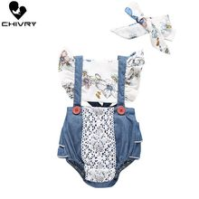 Chivry 2019 Baby Girls Sunflower Print Lace Bow Back Bodysuit Newborn Toddler Boys Jumpsuit with Headband