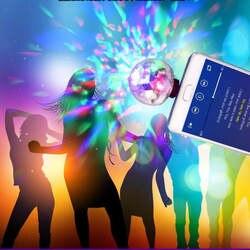 Мини-USB диско светодио дный лампа Светодиодная Вечерние огни портативный хрустальный магический шар красочный эффект сценическая лампа
