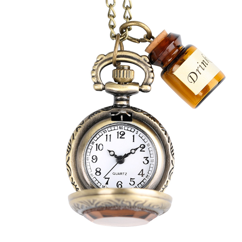 Vintage Glass Alice In Wonderland with Cute Drink Me Bottle Dark Brown Quartz Pocket Watch for Women Lady Girl Unique Gifts (2)