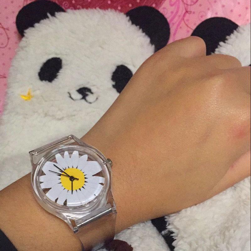 Women Daisy Dail Transparent Plastic Watch Sport Casual Quartz Wristwatch Watch Clock @17 @88 LXH