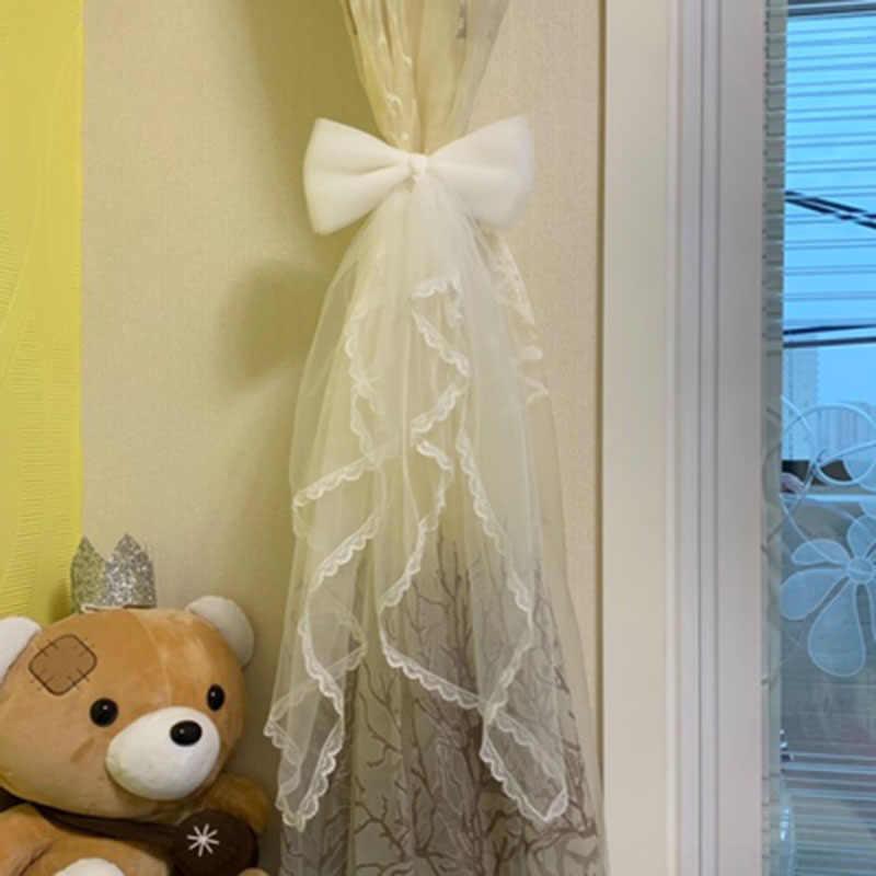 Прозрачные марлевые оконные шторы на ремешке, Завязывающиеся пряжки, белые кружевные банты с завязками на поясе, креативные головные уборы, вечерние украшения для дома, A49-4