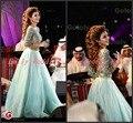Árabe Myriam Celebrity Vestido de Tres Cuartos Vestidos de Baile 2017 Vestidos de Fiesta Verde Menta Cristales Con Cuentas Vestidos de Noche
