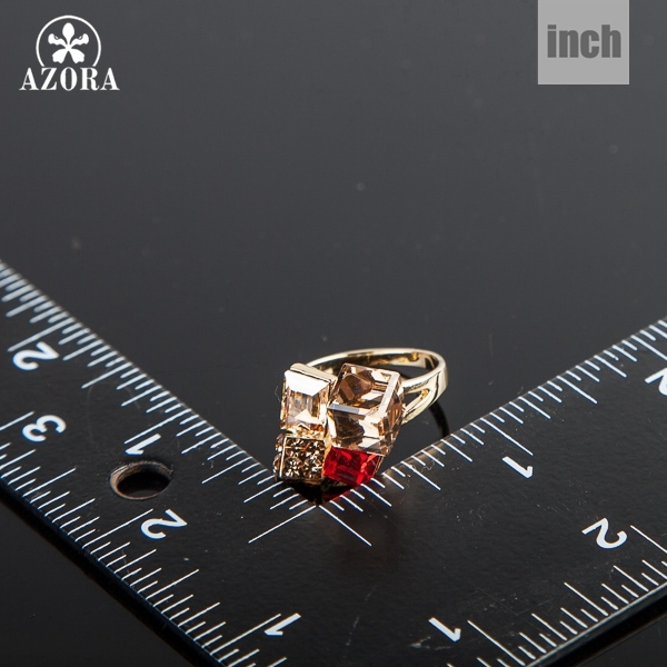 AZORA Exclusive Gold Plated Finger Ring – Multicolour Stellux Austrian Crystal Ring